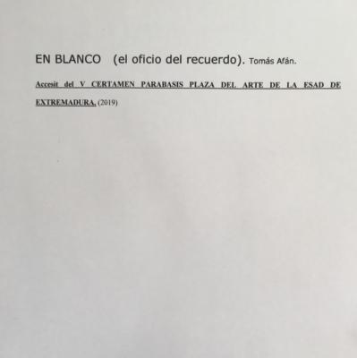 EN BLANCO (el oficio del recuerdo).